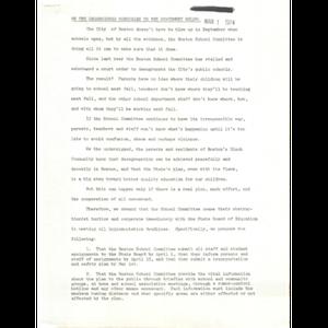 Letter, Boston School Committee, March 1, 1974.