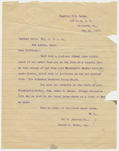 Letter from Capital City Lodge, No. 107, to Jephtha Lodge, No. 11, 1917 May 18
