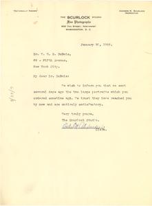 Letter from Scurlock Studio to W. E. B. Du Bois