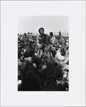 Singer James Brown being greeting by a crowd of Nigerian fans upon his arrival at Kaduna Airport to begin a tour of Nigeria, 1970