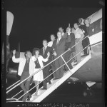 Entertainers boarding plane for Washington D.C. civil rights march, Los Angeles, Calif., 1963