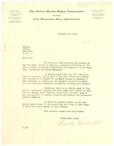Letter from Rodman Wanamaker Contest in Musical Composition for Composers of the Negro Race to Crisis