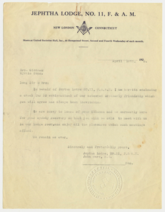 Copy of a letter from Jephtha Lodge, No. 11, to Brother Stedman, 1923 April 13