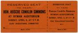 Ticket to the Hon. Roscoe Conklin Simmons speech