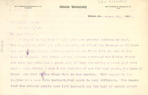 Letter from W. E. B. Du Bois to A. J. McMaster