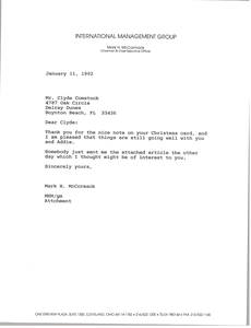 Letter from Mark H. McCormack to Clyde Comstock