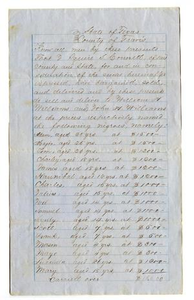 Agreement for sale of multiple slaves