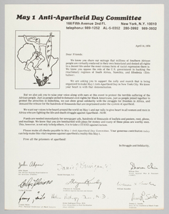 Letter requesting support for the Anti-Apartheid Day rally