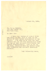 Letter from W. E. B. Du Bois to W. A. Domingo