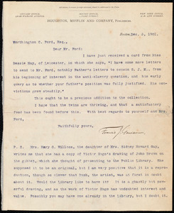 Letter from Francis Jackson Garrison, Boston, to Worthington Chauncey Ford, Dec. 3, 1901