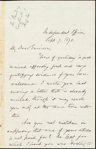 Letter from Oliver Johnson, [New York, N.Y.], to William Lloyd Garrison, Sept[ember] 7, 1870