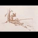 Drawing of an African American man fishing