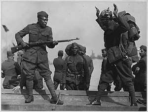 How they did it over there. [African American] troops of the 505th Engineers that returned on S.S....