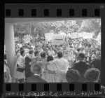 Anti-segregation marchers join hunger strikers in courtyard of Los Angeles Board of Education, 1963