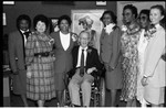 A.C. Bilbrew Library event participants posing for a group portrait, Los Angeles, 1989