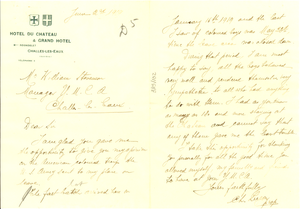 Letter from Charles Liegon to William Stevenson
