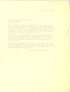 Petition letter to Dr. E. B. Bryan