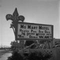 Film negative of Mo' Mart Motel sign, [1956]