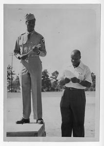 Photograph of F. R. Spencer welcoming home Sergeant Albert Dixon, Manchester, Georgia, 1953
