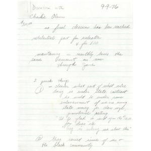 Discussion with Charlie Glenn, September 9, 1976.