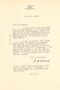 Letter from James H. Dillard to W. E. B. Du Bois