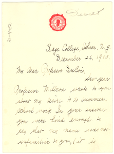 Thumbnail for Letter From Jessie Fauset to W. E. B. Du Bois