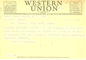 Telegram from Chicago Defender to W. E. B. Du Bois