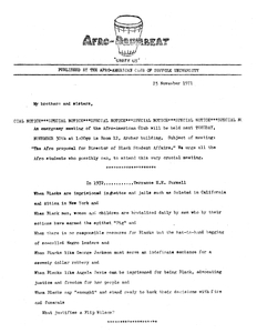 1971 issue of the Afro-Drumbeat newsletter published by Suffolk University's Afro-American club
