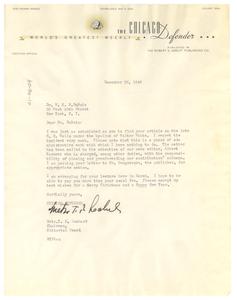 Letter from Chicago Defender to W. E. B. Du Bois