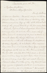 Letter from Lucretia Mott, Roadside, to William Lloyd Garrison, [March] 8th. [18]70