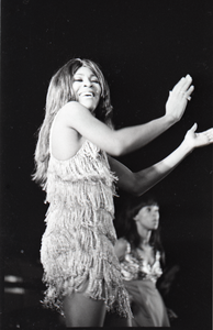 Ike and Tina Turner Revue at the Boston Arena: Tina Turner performing with a member of the Ikettes in the background