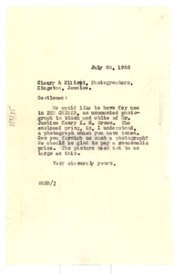 Letter from W. E. B. Du Bois to Cleary & Elliott Photographers