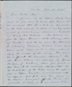 Letter from William Lloyd Garrison, Boston, [Mass.], to Samuel Joseph May, Feb. 16, 1846