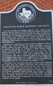 Texas Historical Commission Marker: Grayson Bible Baptist Church