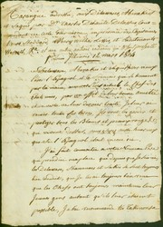 Draft of announcement of Charles Dehault Delassus to the Delaware, Abenakis, and Saquis nations regarding the Louisiana transfer, March 12, 1804