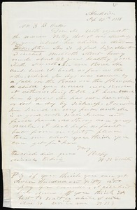W.W. Smith, Blackville, S.C., autograph letter signed to Ziba B. Oakes, 29 September 1856