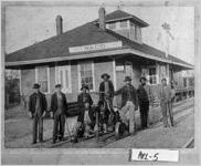 Photograph of railroad workers in front of the depot, Waco, Haralson County, Georgia, ca. 1913