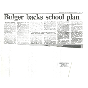 Bulger backs school plan