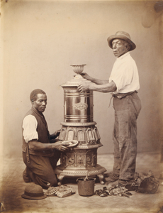 Two Workmen Polishing a Stove