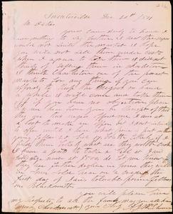 A. J. McElveen, Sumterville, S.C., autograph letter signed to Ziba B. Oakes, 20 December 1854