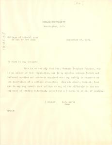Letter from Howard University