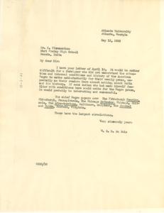 Letter from W. E. B. Du Bois to K. Viswanathan
