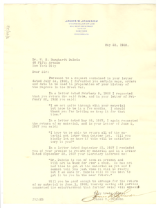 Letter from James W. Johnson to W. E. B. Du Bois