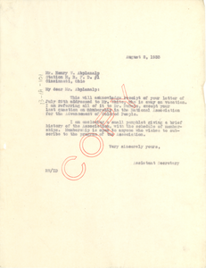 Letter from unidentified correspondent to Henry W. Abplanalp