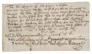 Instructions to the prison keeper regarding Silvanus Warro's imprisonment, 2 March 1672