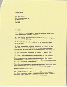 Letter from Mark H. McCormack to Olle Nyman