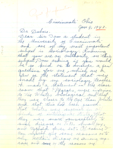 Letter from Mary L. Poston to W. E. B. Du Bois