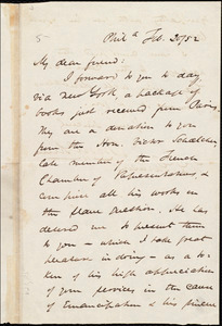 Letter from James Miller M'Kim, Phil[adelphia], [Pa.], to William Lloyd Garrison, Febr[uary] 20 / [18]52