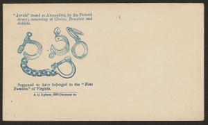 """""""Jewels"""" found at Alexandria, by the Federal Army; consisting of chains, bracelets, and anklets. Supposed to have belonged to the """"First Families"""" of Virginia"""