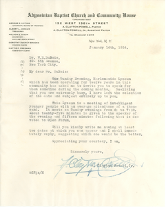 Letter from The Abyssinian Baptist Church and Community House to W. E. B. Du Bois